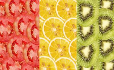 tomato, lemon, kiwi slices ,fresh fruit slice background