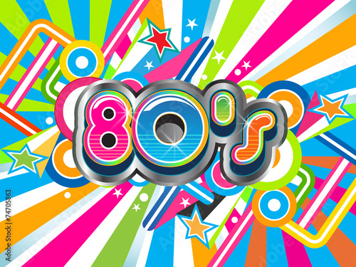 80s Party illustration logo - 74705863