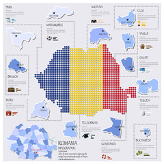 Dot And Flag Map Of Romania Infographic Design