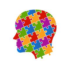 Puzzle people head logo