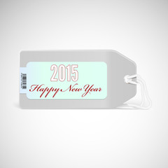 Greeting card with new year 2015 on the price tag.