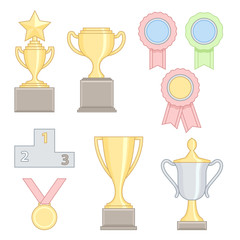 Set of award success and victory colorful line icons