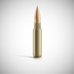 Single bullet. Cartridge for rifle or AK 47 isolated on white