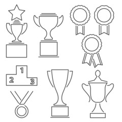 Set of award success and victory line icons