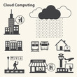 Big data icons set, Cloud computing.