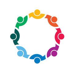 People together in circle. Vector design