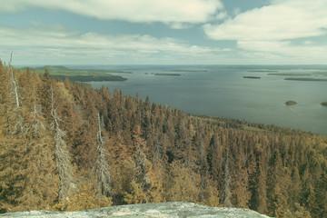 Vintage view from the Koli to lake Pielinen