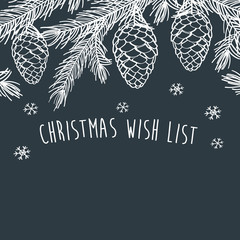 Christmas wish list. Merry Christmas. Happy New Year.