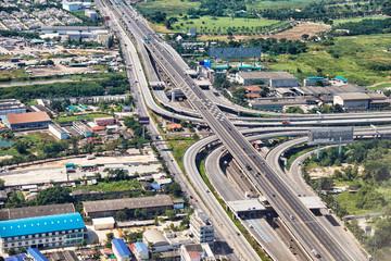 Bird's-eye view on highway in Bangkok vicinity