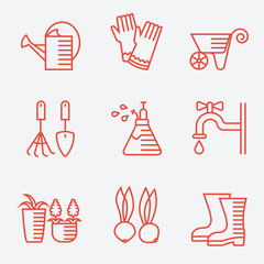 Gardening icons, thin line style, modern flat design