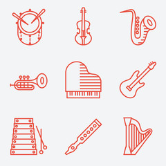 Music instruments, thin line style, modern flat design