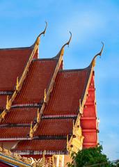 Roof of Wat Suwan Khirikhet buddist themple in Phuket