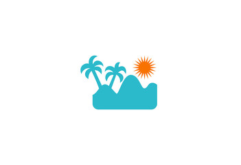 palm tree beach icon vector logo