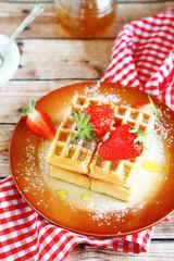 Tasty waffles on a plate
