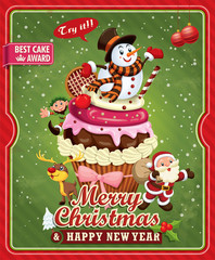 Vintage Christmas poster design with Santa Claus, cupcake