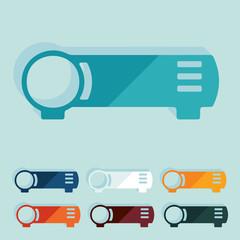 Flat design: cinema projector