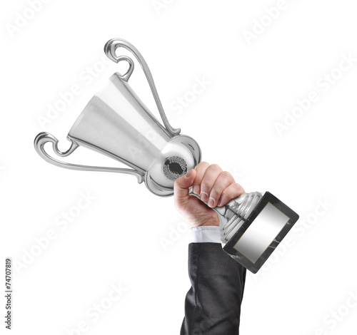 canvas print picture Champion holding a silver cup trophy