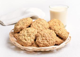 Homemade oatmeal cookies and milkshake