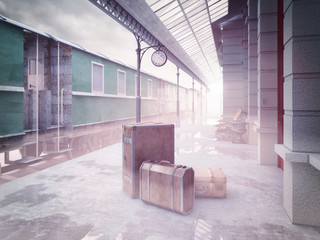 retro railway  train station