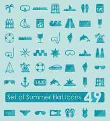 Set of summer flat icons