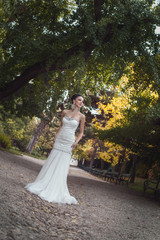 Attractive bride standing or posing in a park