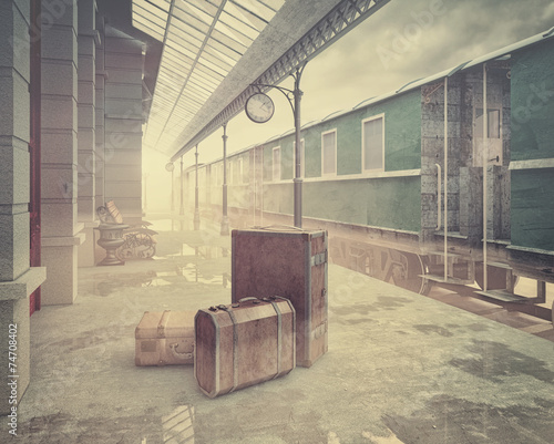 the retro railway  train station - 74708402