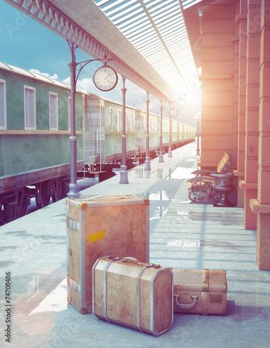 retro railway station - 74708486