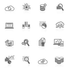 Database analytics icons black