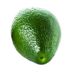 Whole Avocado isolated on white background. Fresh green Avocado