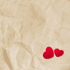 Red hearts on vintage paper. EPS 10