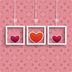 Frames 3 Colored Hearts Ornaments