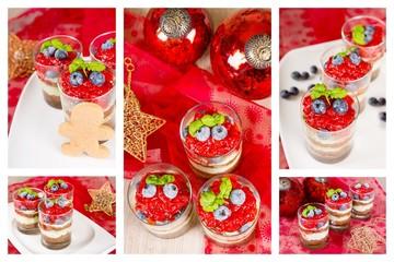 Sweet dessert tiramisu with strawberry, fresh blueberry