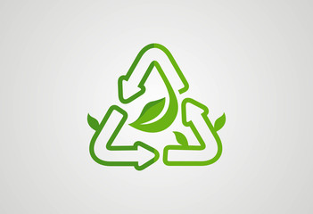 Recycle ecology leaf logo vector