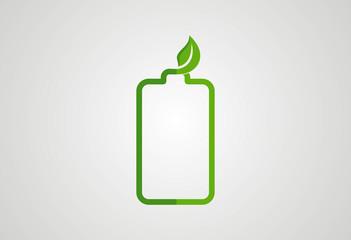 Battery energy ecology concept logo vector