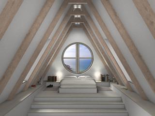 Dachzimmer mit rundem Fenster