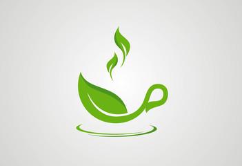 Cup tea green leaf logo vector