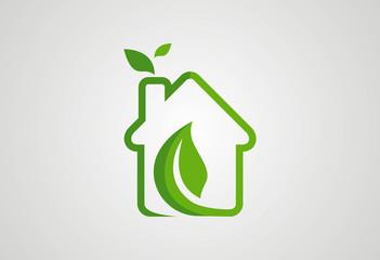 Home ecology green leaf logo vector