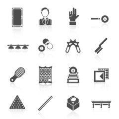 Billiards Black Icons Set