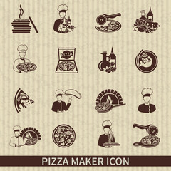 Pizza Maker Icon Black