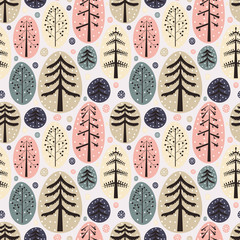 Fir trees seamless pattern