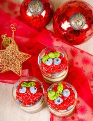 Christmas dessert. Sweet dessert tiramisu with strawberry, fresh