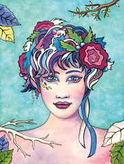 Portrait of a woman with flowers in her hair. Watercolor art.