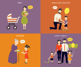 Fototapety Family with children concept flat icons set
