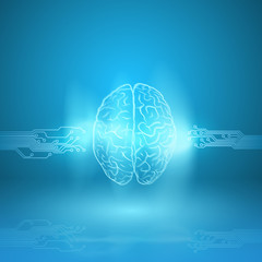 Digital brain on blue background