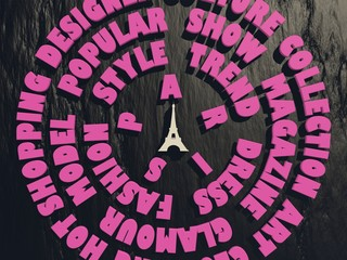 pink fashion relative tags circles and eiffel tower icon