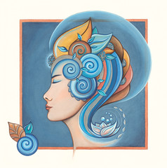 Nature woman with spirals and a Lotus flower.