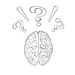 Brain with question mark and exclamation mark