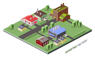 Isometric factory buildings