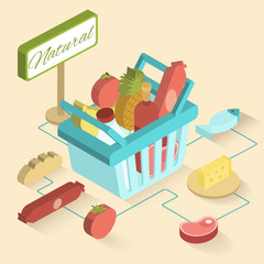 Supermarket Basket Isometric