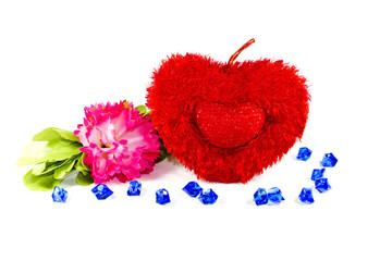 Rote Liebesherze mit Blume und Blauen Steinen